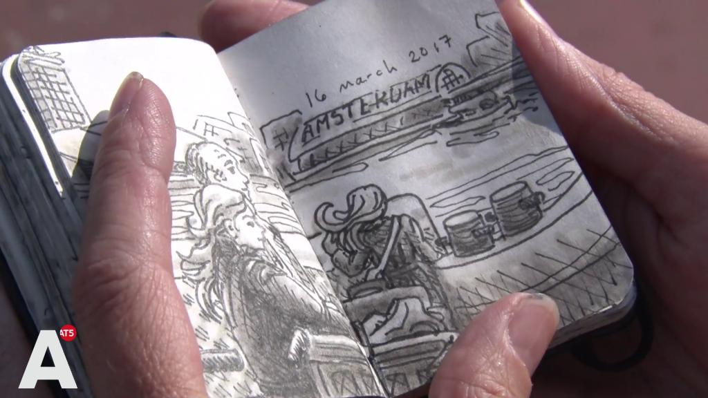 Tekenaar schetst binnen 12 minuten portret op NDSM-pont