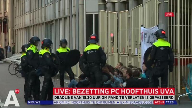 Ontruiming P.C. Hoofthuis begonnen