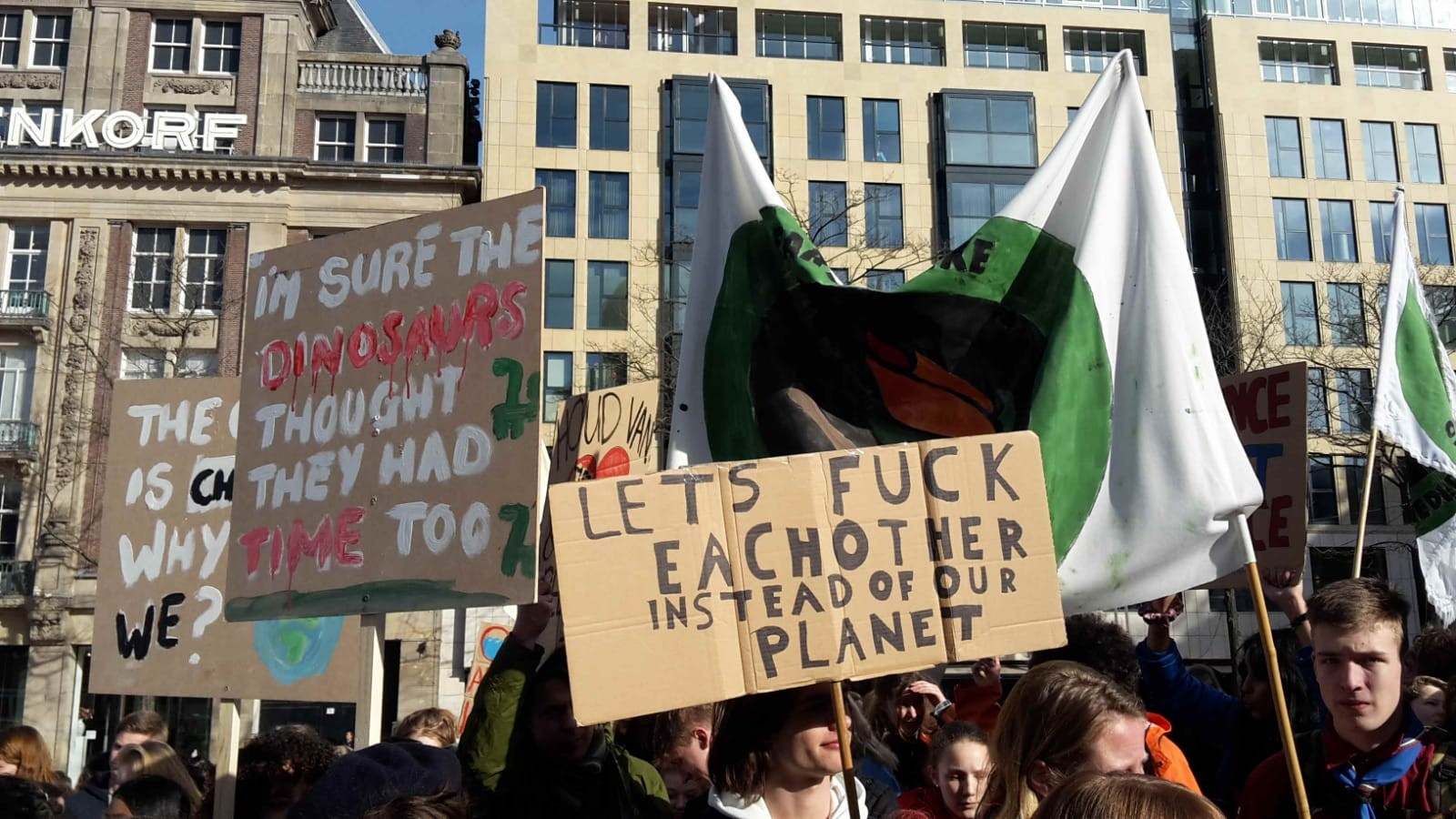 Amsterdam pro-climate demonstrators today
