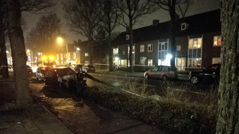 Autobrand aan Van der Hooplaan Amstelveen