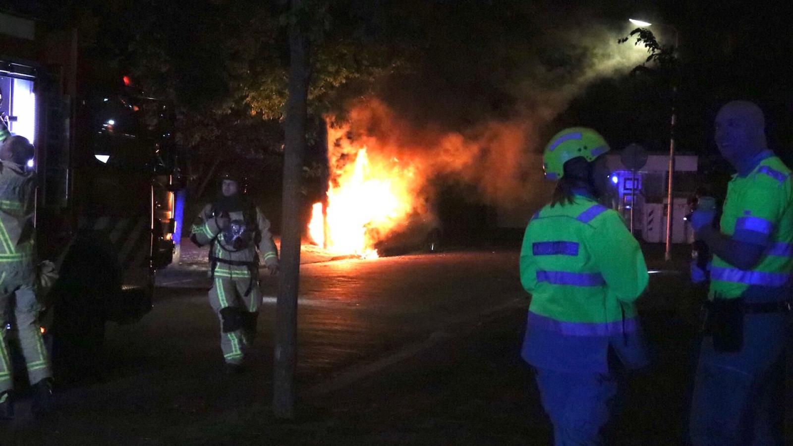 Auto brandt uit na botsing tegen boom in Amstelveen.